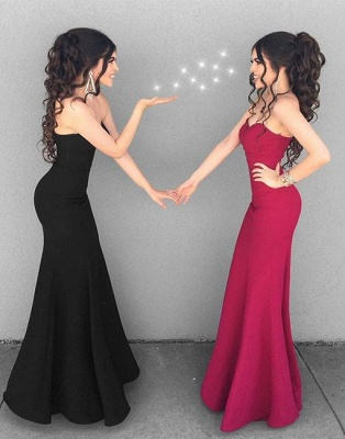 Mermaid Black Simple Long Sweetheart-neck Stylish Evening Dresses_2