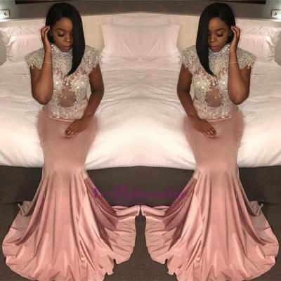 Mermaid Crystal High-Neck Cap-Sleeve Pretty Prom Dress_1