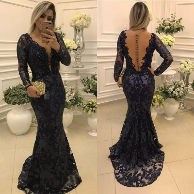 Glamorous Scoop Sweep-train Long Sleeves Lace Mermaid Prom Dresses_3