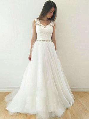 Glamorous A-Line Sleeveless Wedding Dresses | Straps V-Neck Tulle Bridal Gowns_1