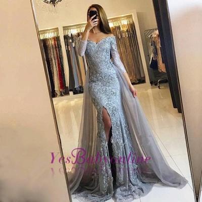 Lace-Appliques Long-Sleeve Newest Mermaid Sweetheart Front-Split Prom Dress_1
