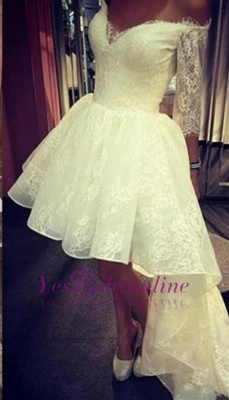Lace Hi-lo Prom Dresses Off-the-Shoulder Half Long Sleeves Party Dresses_4