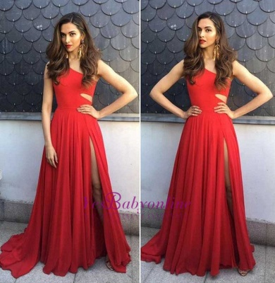 Elegant One-Shoulder Sleeveless A-Line Side-Slit Prom Dresses_3