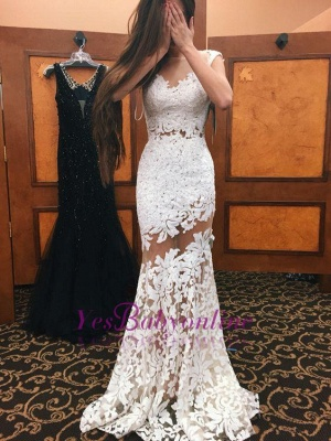 Sexy White Mermaid Prom Dresses Lace Appliques Sheer Sleeveless Evening Gowns_1