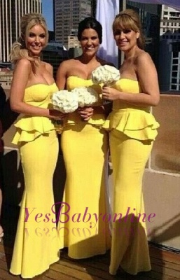 Long Peplum Bright-Yellow Mermaid Ruffles Bridesmaid Dresses_1