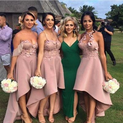Sexy Sleeveless Bridesmaid Dresses | Appliques Hi-Lo Wedding Guest Dresses_3