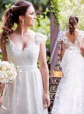 A-line Bow Lace Cap-sleeves Simple V-neck White Wedding Dress_2