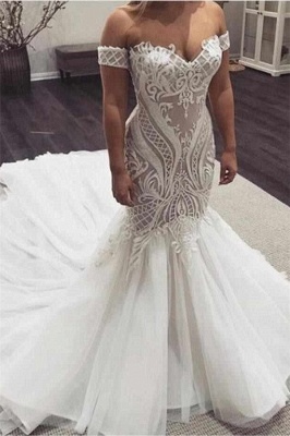 Off the Shoulder Sweetheart Sexy Lace Mermaid Wedding Dresses_1