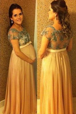 Beading Short-Sleeves Chiffon Bow Ball-Gown Floor-length Pregnant Prom Dress_3