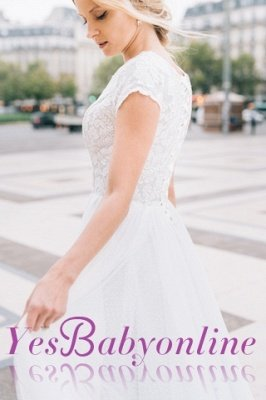 White A-line Cap-Sleeve V-Neck Lace Romantic Wedding Dresses_1