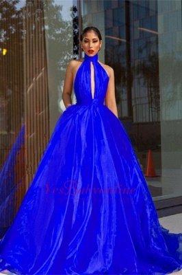 Luxurious Royal-Blue Prom Dresses    High-Neck Evening Dresses_4