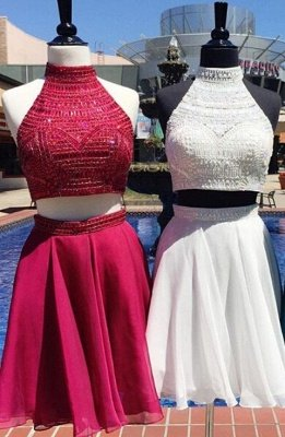 Delicate Two Piece A-line Short Beading High Neck Homecoming Dress_1