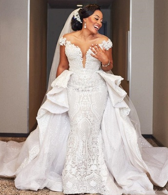 Gorgeous Off the Shoulder Lace Wedding Dresses With Detachable Train_2