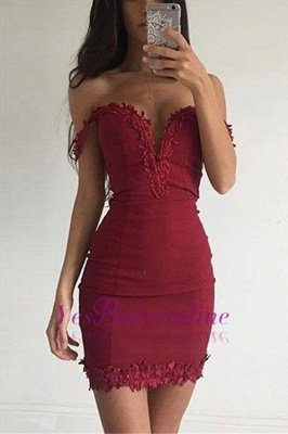 Sexy Burgundy Sheath Homecoming Dresses Off-the-shoulder Lace Appliques Tight Cocktail Dress_1