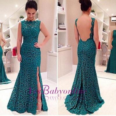 Lace Front-Split Sleeveless Modest Sweep-Train Prom Dress_1