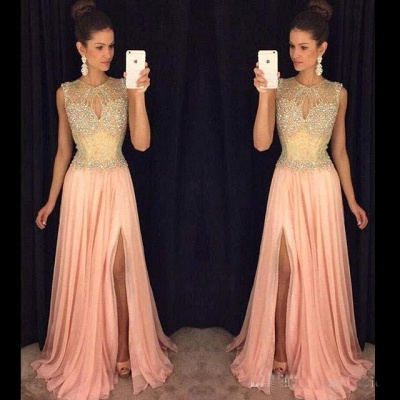 Gorgeous Front-Split Beads A-line Chiffon Sleeveless Prom Dress_3