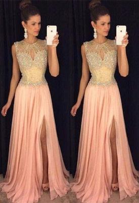 Gorgeous Front-Split Beads A-line Chiffon Sleeveless Prom Dress_2