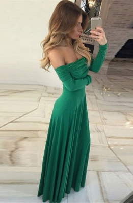 Gorgeous Long-Sleeve Off-the-shoulder Long Green Prom Dress_3