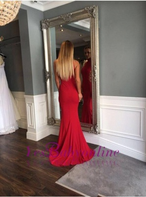 Mermaid Sleeveless Sweep-Train High-Neck Modern Red Prom Dress_1