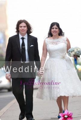 White Plus-Size Modern Knee-Length Illusion Lace Appliques Wedding Dress_1