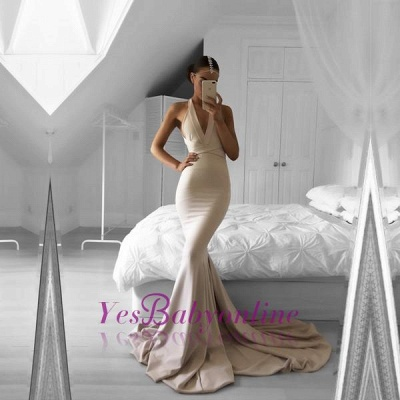 Halter Mermaid Long Prom Dress Nude V-Neck Sleeveless Evening Gowns_1