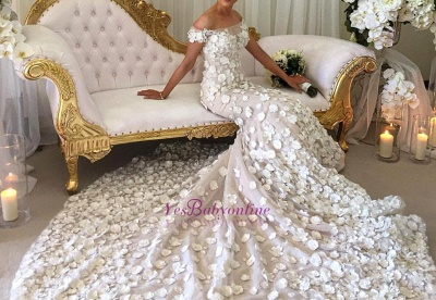 Classic Mermaid Appliques Wedding Dresses   Off-the-Shoulder White Bridal Gowns_1