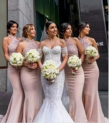Elegant Mermaid Lace Bridesmaid Dresses | Sexy Halter Long Wedding Party Dresses BA7501_3