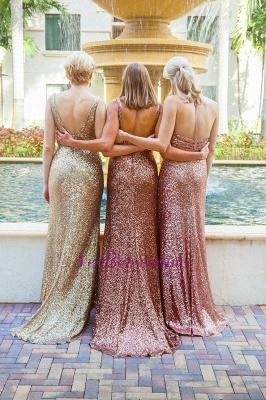 Simple Sequins Mermaid Bridesmaid Dresses V-Neck Shiny Wedding Guest Dresses_1