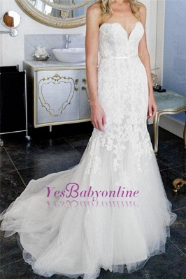 Tulle Form Fitting Sleeveless Lace Appliques Open-Back Front-Slit Sweetheart Wedding Dress_1