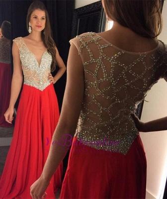 Elegant Long Beading Crystal V-Neck  Natural Prom Dresses_1