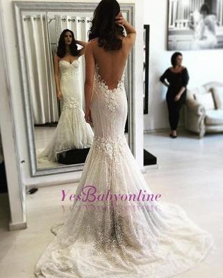 Backless Lace Sweep Train Sweetheart Mermaid Sexy Wedding Dresses_1