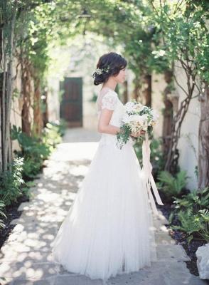 Short-Sleeve Tulle Zipper Floor-Length Princess Classic Lace Wedding Dress_3