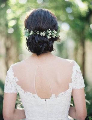 Short-Sleeve Tulle Zipper Floor-Length Princess Classic Lace Wedding Dress_4