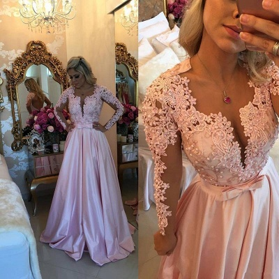 A-line V-neck Long Sleeves  Pearls Appliques Prom Dresses_3