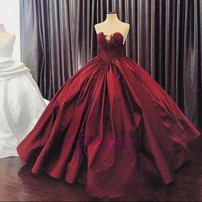 Ball-Gown Sweetheart Appliques Sleeveless Elegant Prom Dress_1