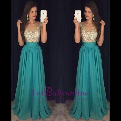 Scoop Floor-Length Elegant Long Crystal Chiffon Prom Dress_1