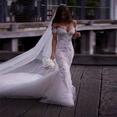 Off-the-Shoulder Pearls Short Sleeves Sexy Mermaid Wedding Dresses_6