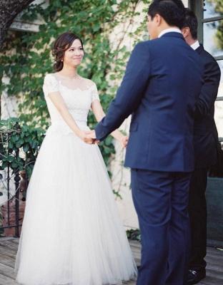 Short-Sleeve Tulle Zipper Floor-Length Princess Classic Lace Wedding Dress_5