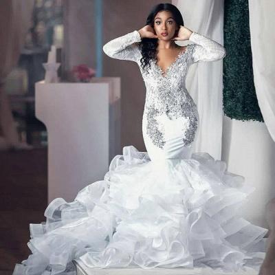 Luxurious Deep V Neck Long Sleeve Applique Ruffles Mermaid Wedding Dresses_2