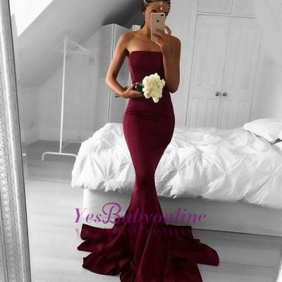 Simple Strapless Burgundy Prom Dresses Plain Long Mermaid Evening Gowns_1