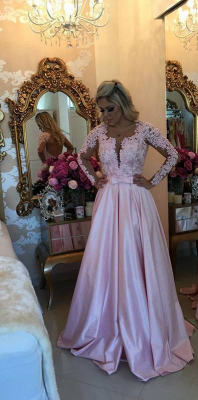 A-line V-neck Long Sleeves  Pearls Appliques Prom Dresses_1