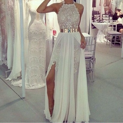 Sexy Side Slits Prom Dresses Metal Belt Lace Chiffon Sleeveless A-line Evening Gowns_3