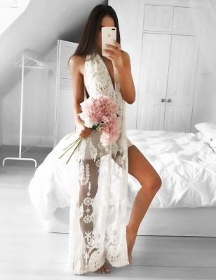 Sleeveless Front-Split Mermaid V-neck Floor-length Lace Sexy Prom Dress_2