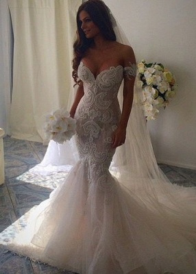 Off-the-Shoulder Pearls Short Sleeves Sexy Mermaid Wedding Dresses_1