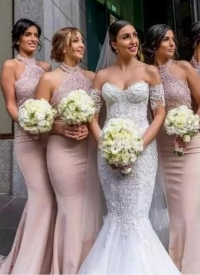 Elegant Mermaid Lace Bridesmaid Dresses | Sexy Halter Long Wedding Party Dresses BA7501_1
