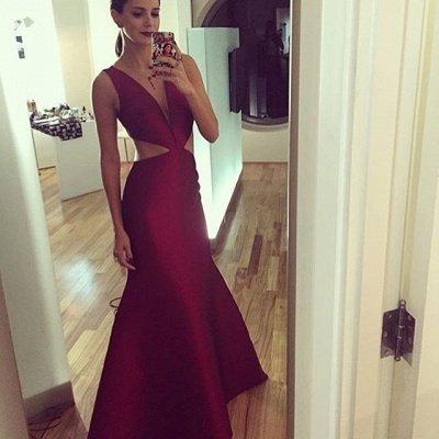 Sheath-Column Floor-length Elegant Sexy Deep-v-neck Sleeveless Prom Dress_3