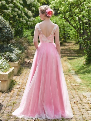 Straps Pink A-line Lace Floor-length Amazing Sleeveless Bridesmaid Dress_3
