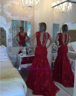 Mermaid Delicate Red V-neck Lace Cap-Sleeve Pearls Prom Dress_1