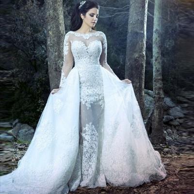 Form Fitting Overskirt Long Sleeves Glitter Lace Wedding Dresses_3