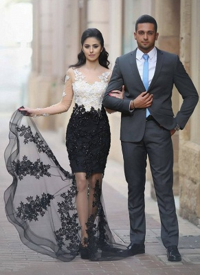 White-Black Long-Sleeves Mermaid Sheer Lace-Appliques Beading Prom Dresses_5